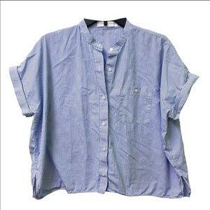 Everlane Striped Poplin Short Sleeve Shirt